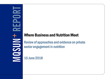 Where Business and Nutrition Meet: Review of Approaches and Evidence on Private-Sector Engagement in Nutrition
